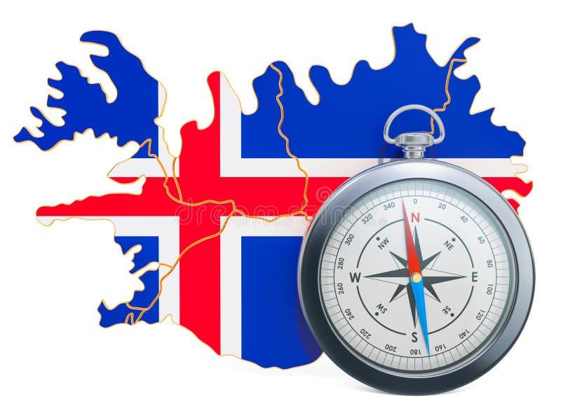 Curso ou turismo no conceito de Islândia rendi??o 3d ilustração royalty free