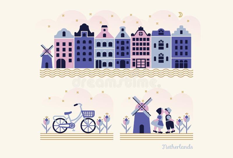 Curso Países Baixos - grupo do vetor de elementos/símbolos holandeses tradicionais no estilo liso moderno da ilustração ilustração stock