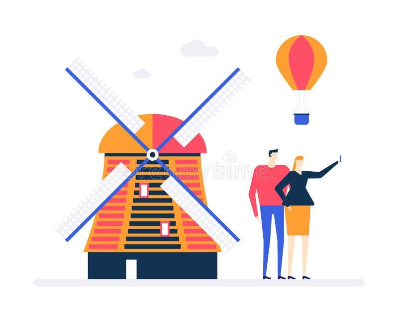 Curso a Países Baixos - ilustração lisa colorida do estilo do projeto ilustração royalty free