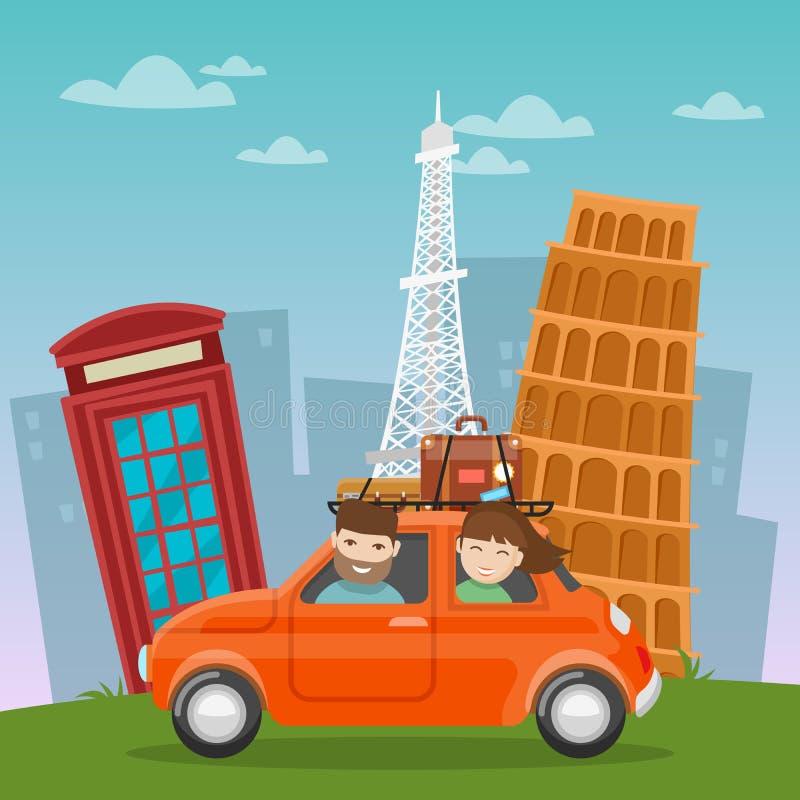 Curso pela aventura europeia do carro com lugares famosos da arquitetura ilustração royalty free