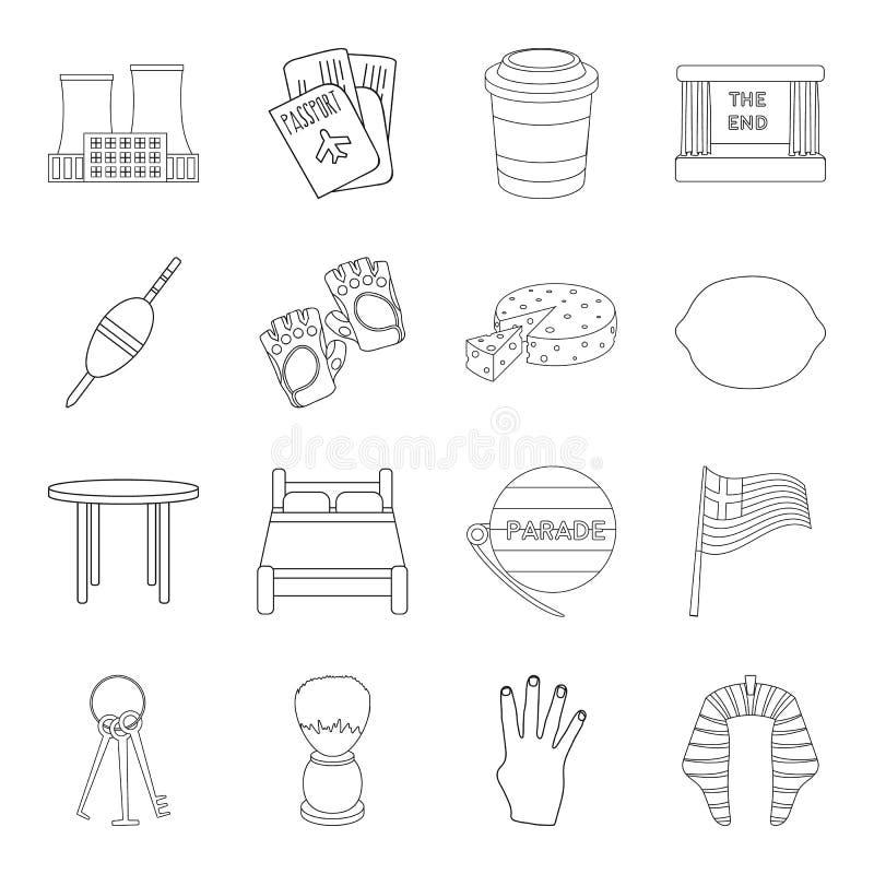 Curso, pesca, esporte e o outro ícone da Web no estilo do esboço mobília, alimento, ícones do serviço na coleção do grupo ilustração stock