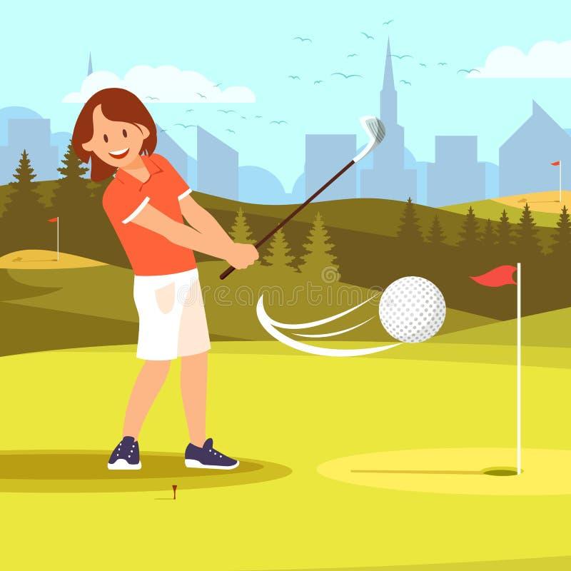 Curso praticando do driving range do golfe do jogador de golfe da menina ilustração stock