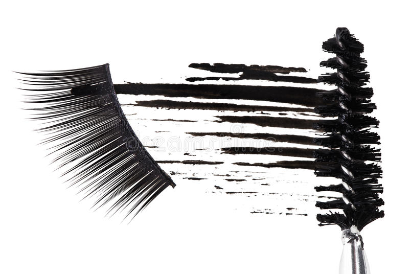 Curso preto do mascara, escova e pestanas falsas imagem de stock