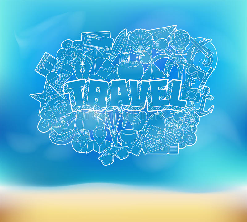 Curso - rotulação da mão e esboço dos elementos das garatujas em uma praia B ilustração stock