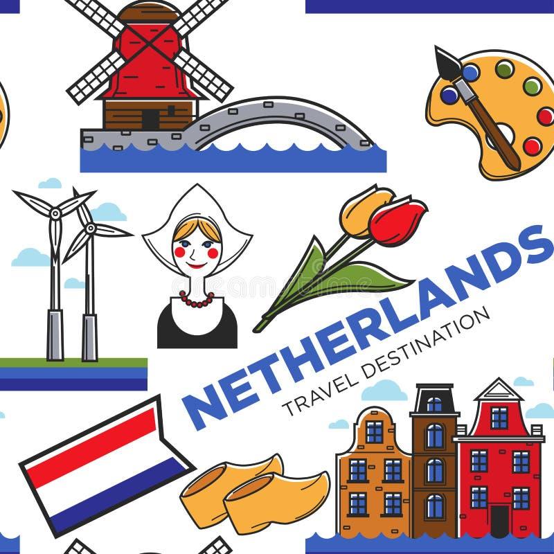 Curso sem emenda do teste padrão dos símbolos nacionais de Países Baixos à Holanda ilustração stock