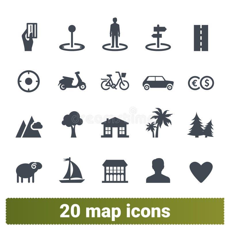 Curso, transporte e coleção dos ícones do mapa ilustração do vetor