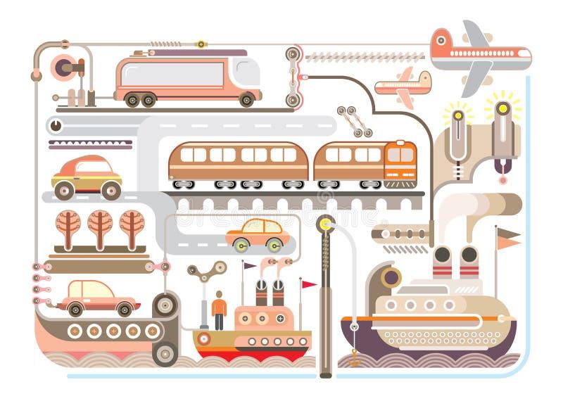 Curso, turismo, transporte - vector a ilustração ilustração do vetor