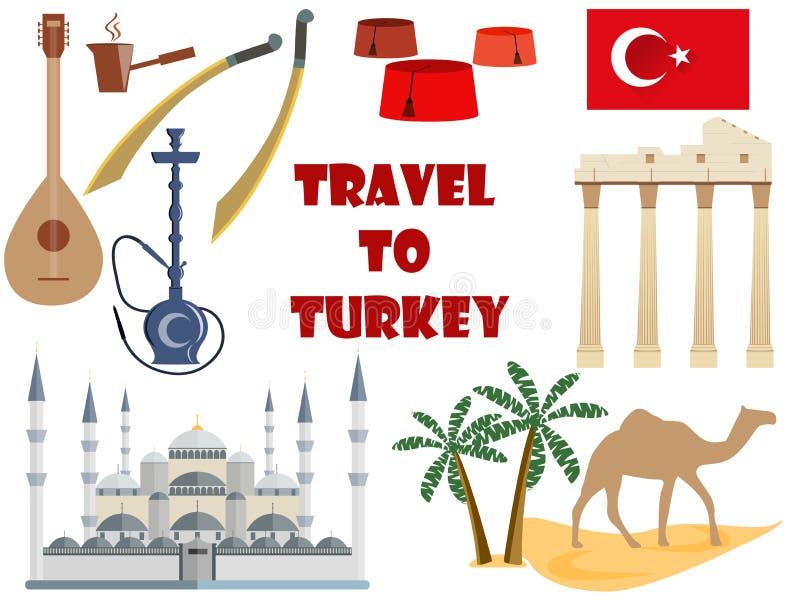 Curso a Turquia Símbolos de Turquia Turismo e aventura ilustração do vetor