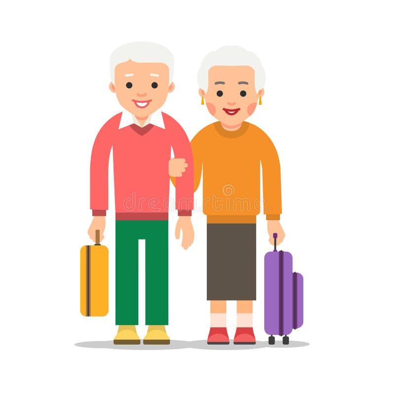 Curso velho dos pares Suporte envelhecido de dois povos com sacos e malas de viagem Suporte idoso do homem e da mulher junto Conc ilustração do vetor