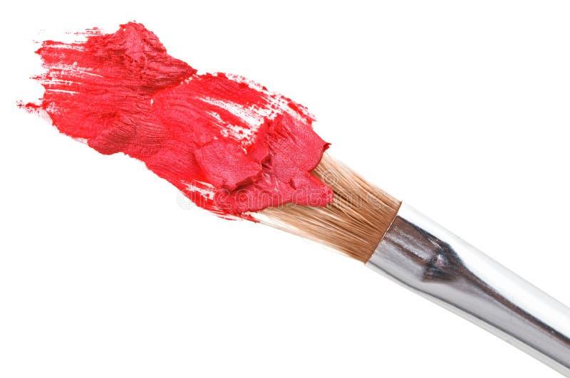 Curso vermelho do batom (amostra) com escova da composição imagens de stock royalty free