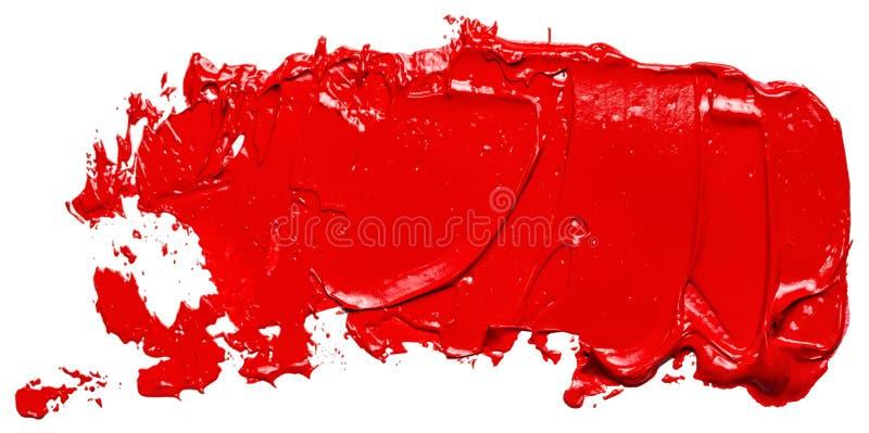 Curso vermelho Textured da escova de pintura do óleo, isolado ilustração do vetor