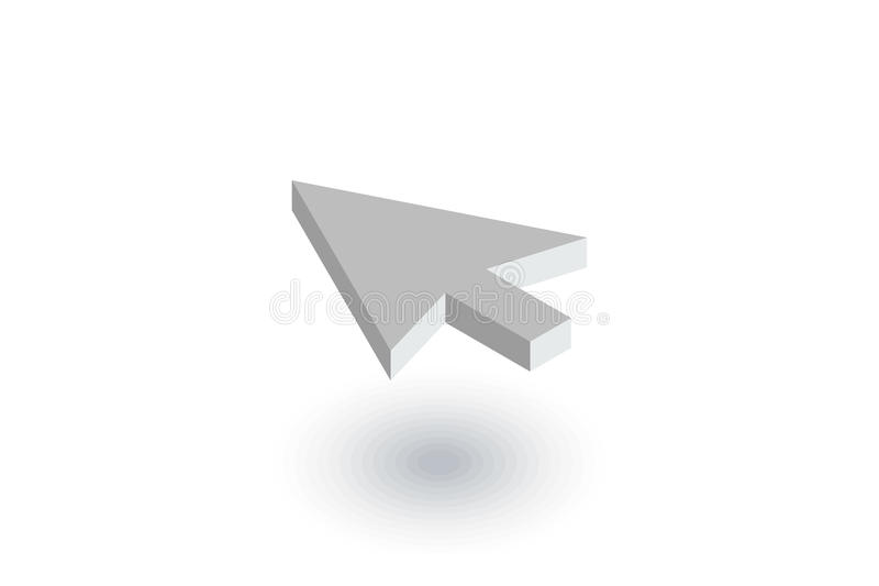 Cursor arrow, click isometric flat icon. 3d vector royalty free illustration
