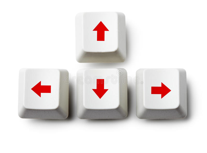 Cursor arrow keys on white. Four cursor arrow keys on white background royalty free stock photography