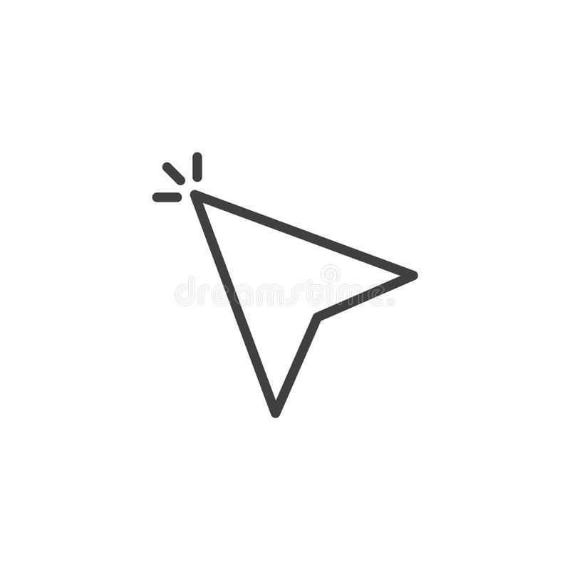 Cursor arrowhead click outline icon royalty free illustration