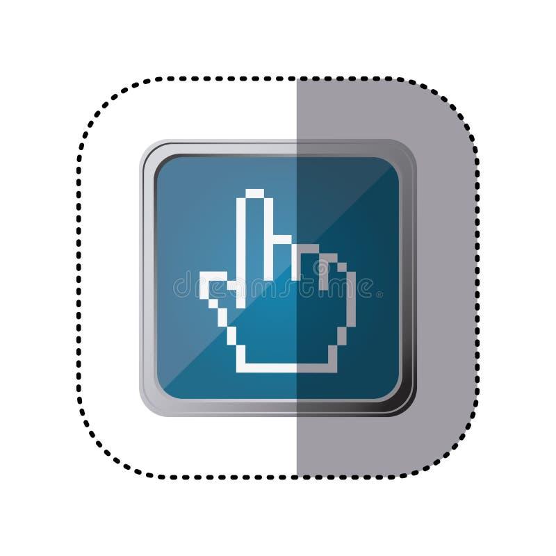 cursor azul da mão do emblema ilustração stock