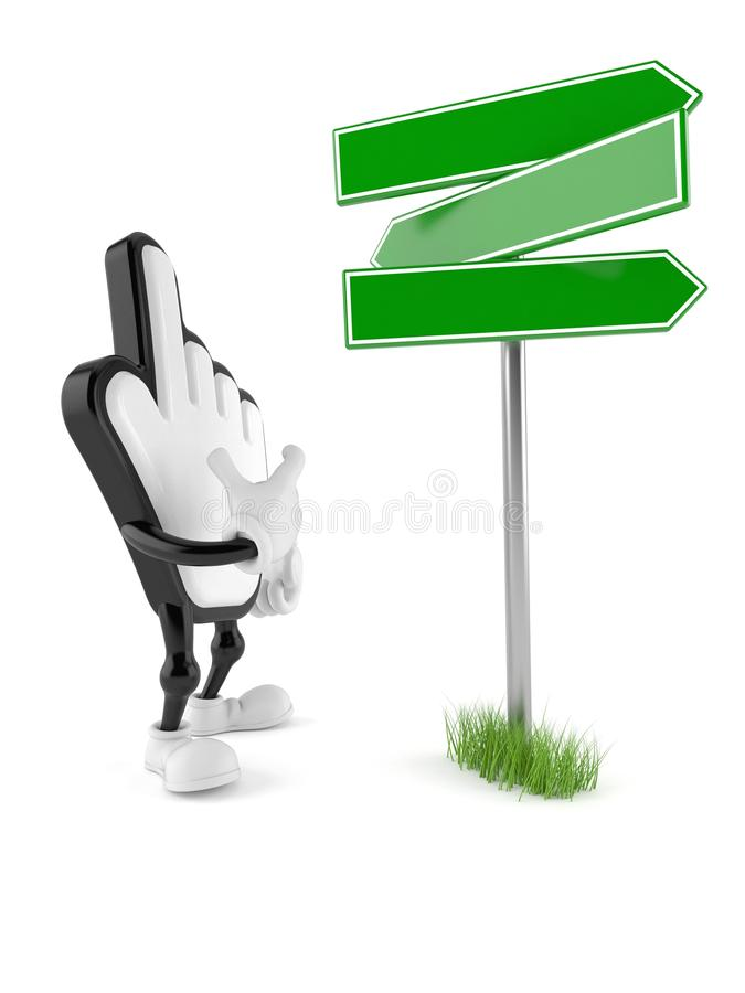 Cursor character with blank signpost. Isolated on white background. 3d illustration vector illustration