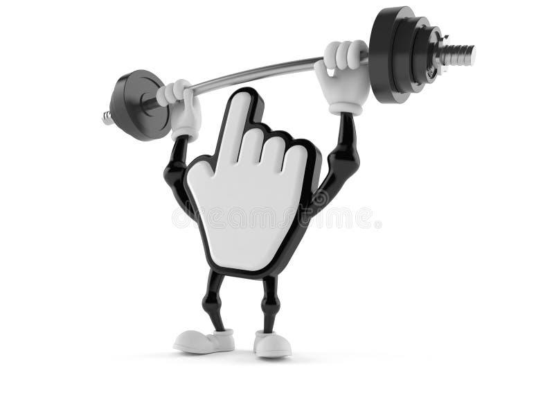 Cursor character lifting heavy barbell royalty free illustration