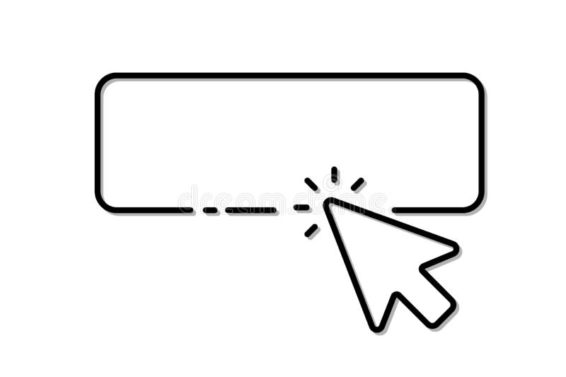 The cursor of the computer mouse clicks on the button stock illustration