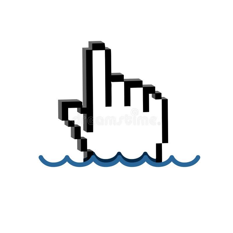 Cursor de la mano sumergido debajo del agua libre illustration