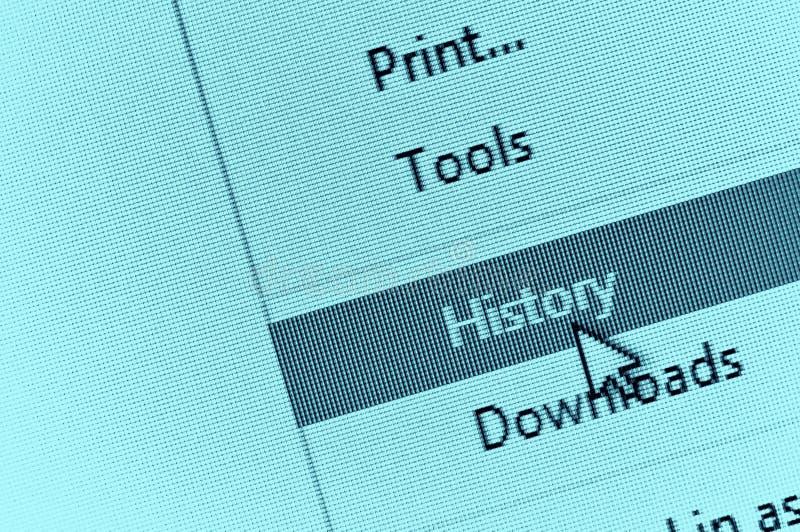 Cursor del ordenador que señala a la historia del navegador de Internet en el descenso dow imagenes de archivo