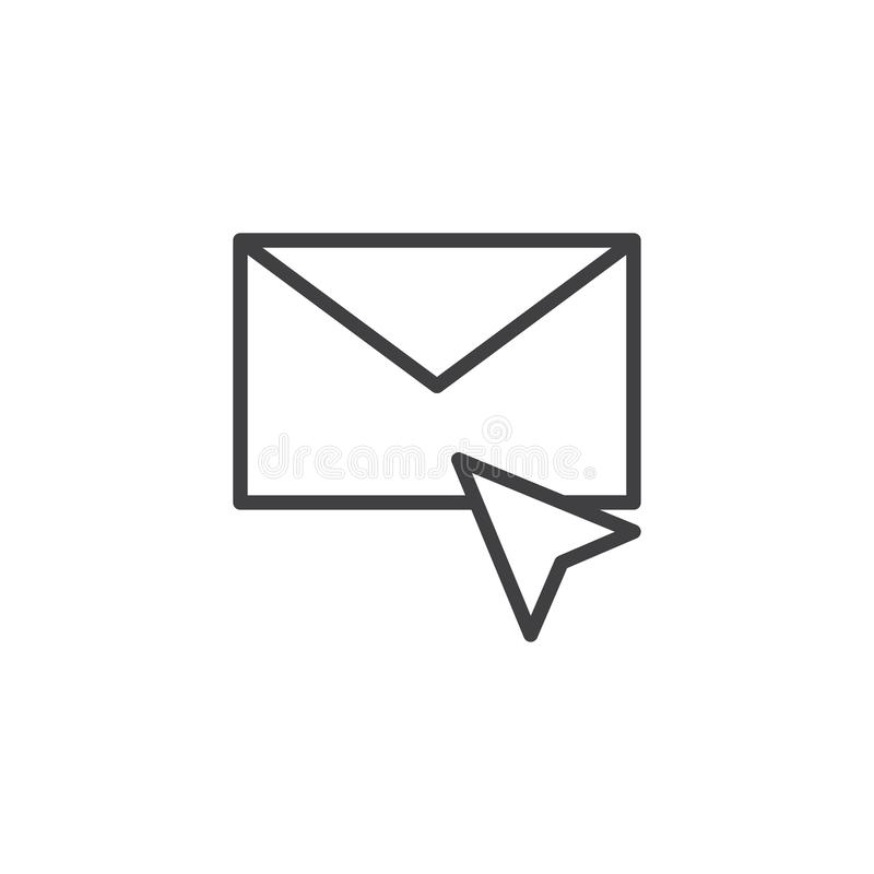 Cursor and envelope mail outline icon royalty free illustration