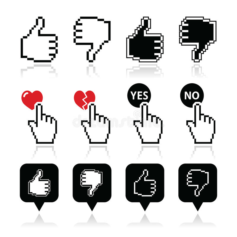 Download Cursor Hand - Like, Unlike, Love, Vote Yes Or No Icons Set Stock Illustration - Image: 43415047