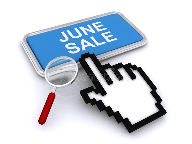 June sale button. Cursor hand and magnifying glass above June sale button, white background royalty free stock photos