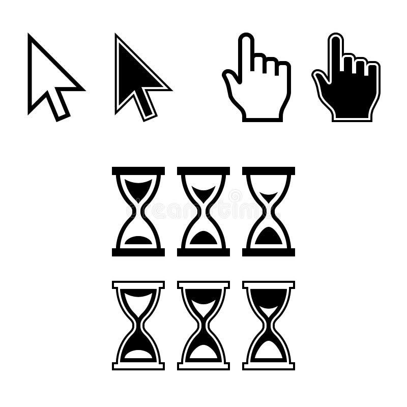 Cursor Icons. Mouse Pointer Set. Arrow Hand Hourglass. Vector