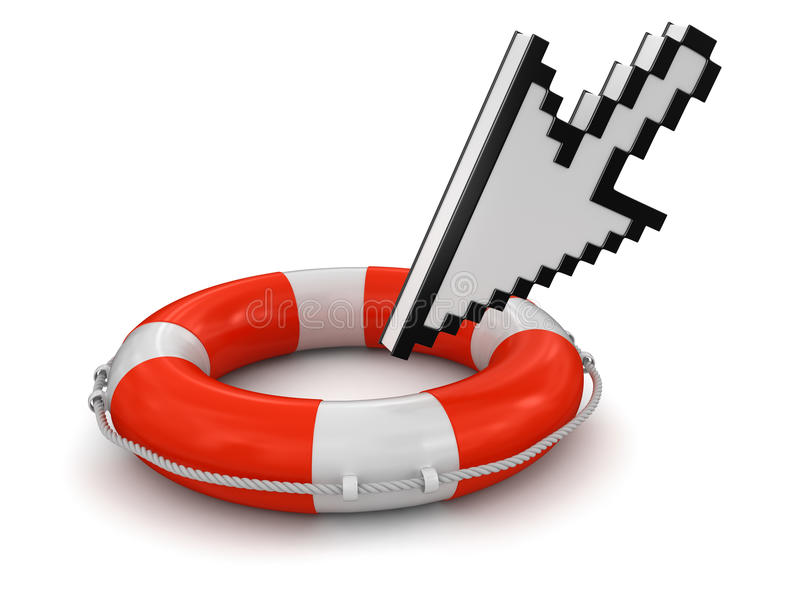 Cursor And Lifebuoy (clipping Path Included) Stock Photos