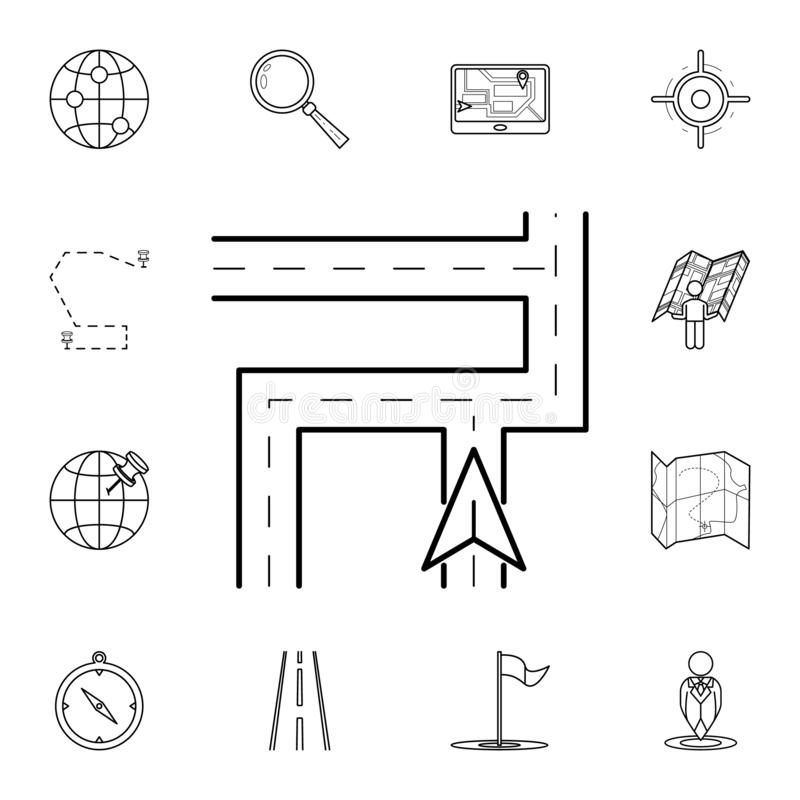 Cursor on the map icon. Detailed set of navigation icons. Premium graphic design. One of the collection icons for websites, web. Design, mobile app on white royalty free illustration