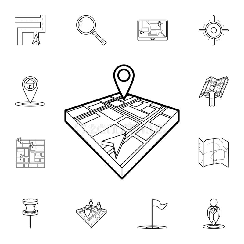Cursor and pin on 3d map icon. Detailed set of navigation icons. Premium graphic design. One of the collection icons for websites. Web design, mobile app on royalty free illustration