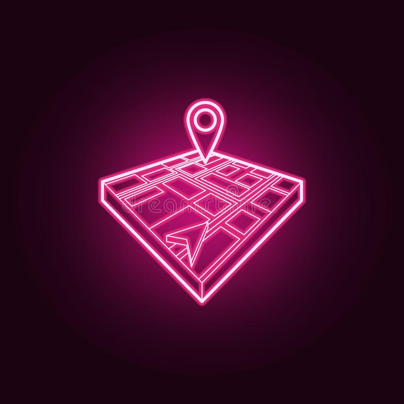Cursor and pin on 3d map neon icon. Elements of Navigation set. Simple icon for websites, web design, mobile app, info graphics. On dark gradient background royalty free illustration