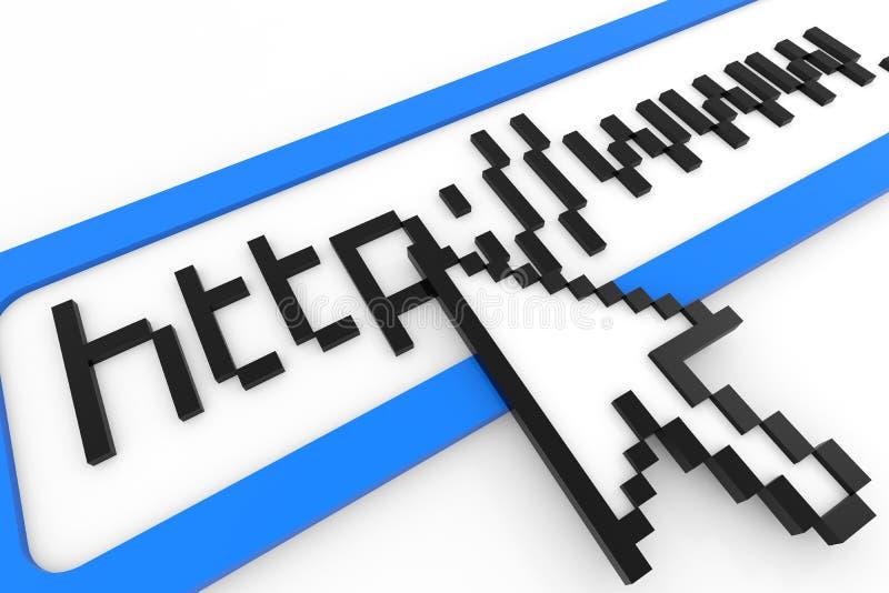 Cursor que señala en el texto del HTTP WWW. Concepto del Internet ilustración del vector