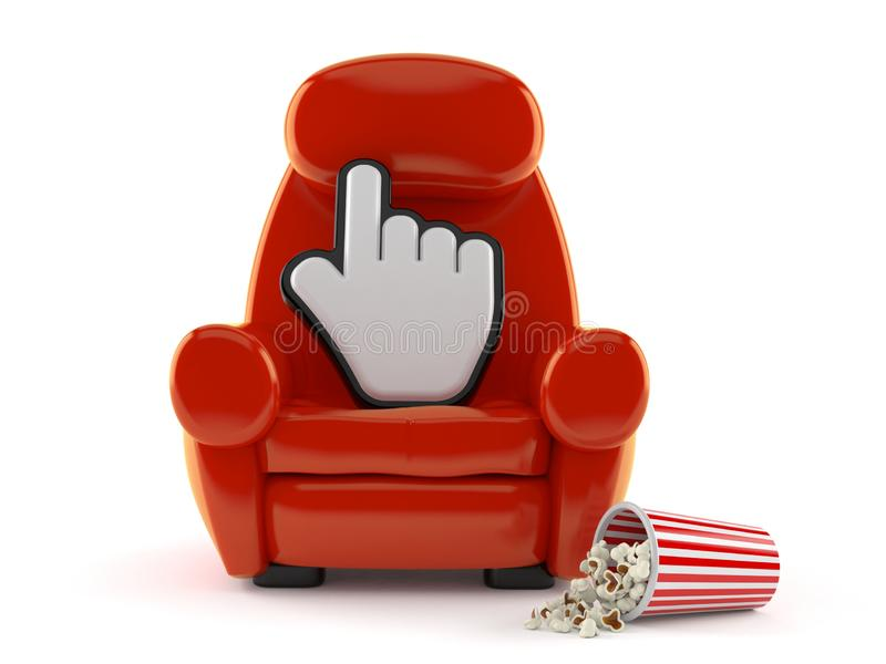 Cursor with theater armchair and popcorn. Isolated on white background. 3d illustration stock illustration