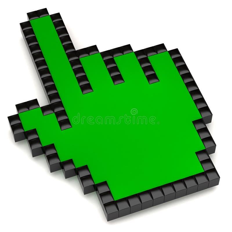 Cursor verde de la mano ilustración del vector