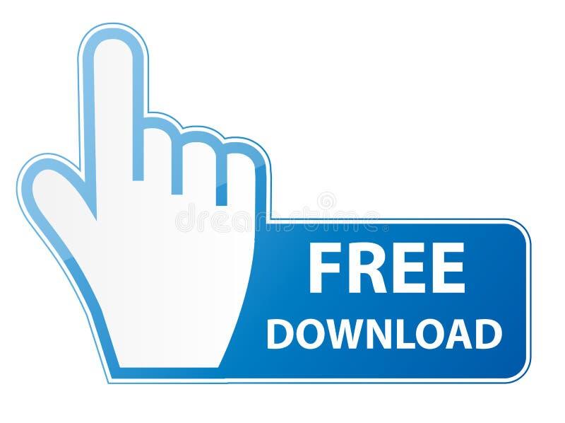 Cursore della mano del topo sul vettore del bottone di download gratuito illustrazione di stock