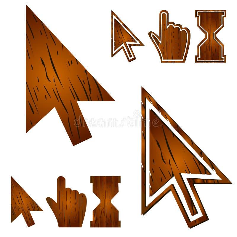 Cursores de madera fijados Ilustración del vector libre illustration