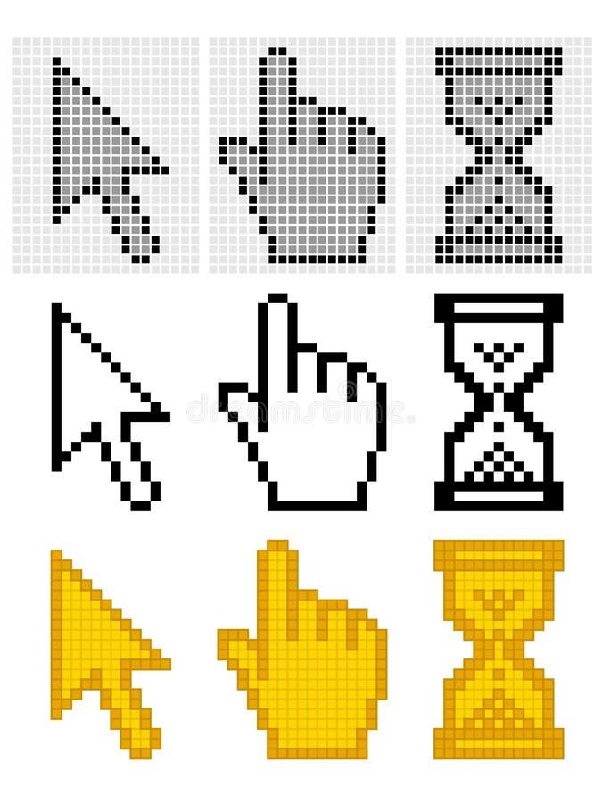 Cursores del pixel stock de ilustración