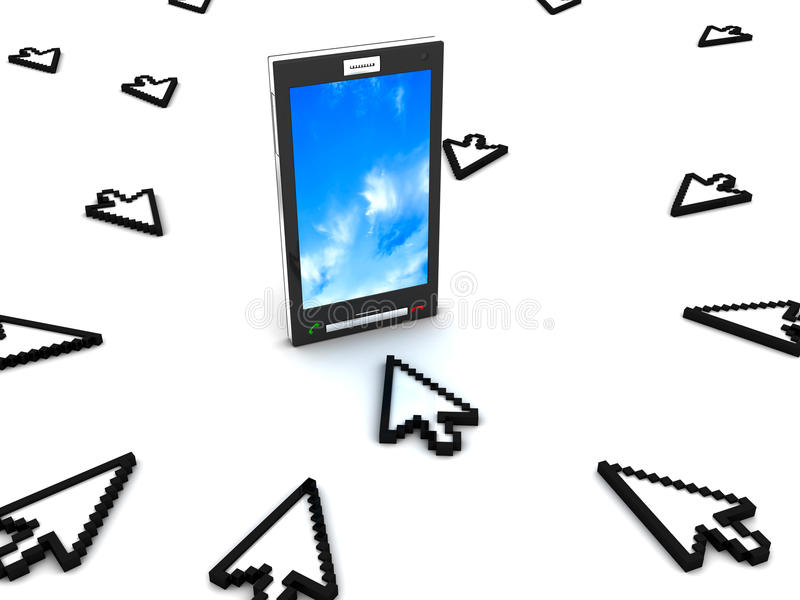 Cursors and Mobile phone stock illustration