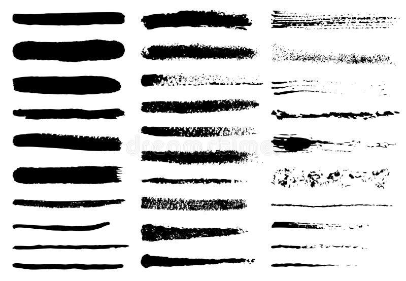 Cursos ásperos pretos da escova do Grunge ajustados Grupo de pintura, de cursos da escova da tinta e de linhas pretos Preto ásper ilustração royalty free