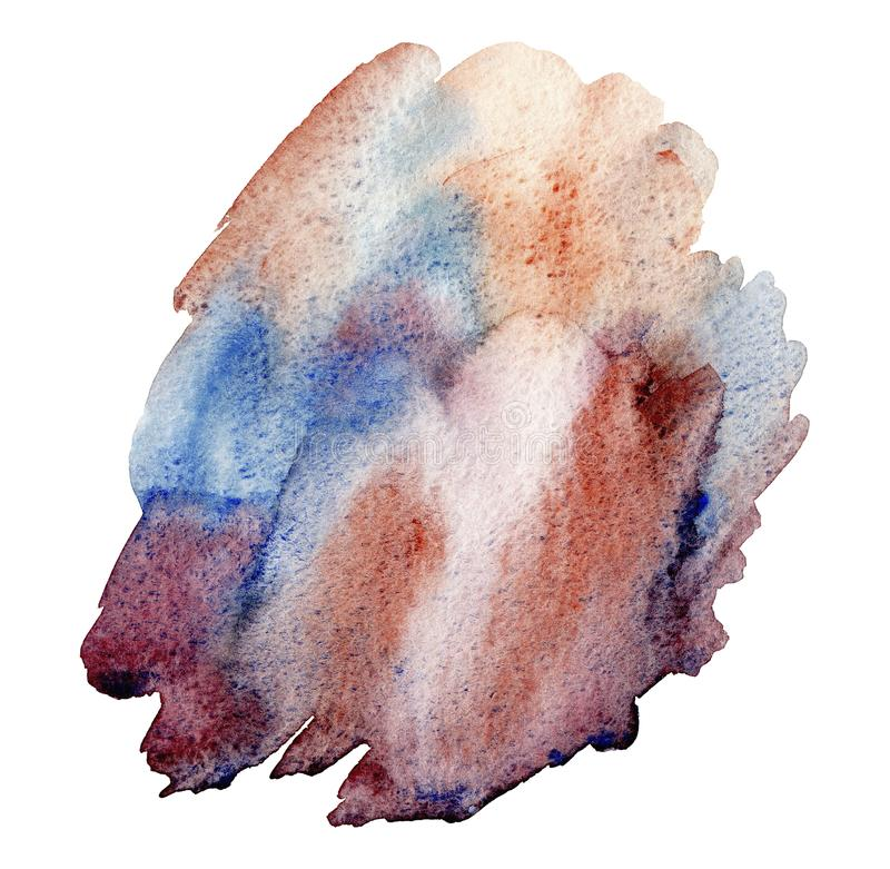 Cursos abstratos marrons azuis tirados mão da escova da aquarela isolados no fundo branco fotografia de stock