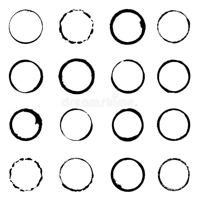 Cursos ajustados da escova do círculo do grunge do vetor ilustração royalty free