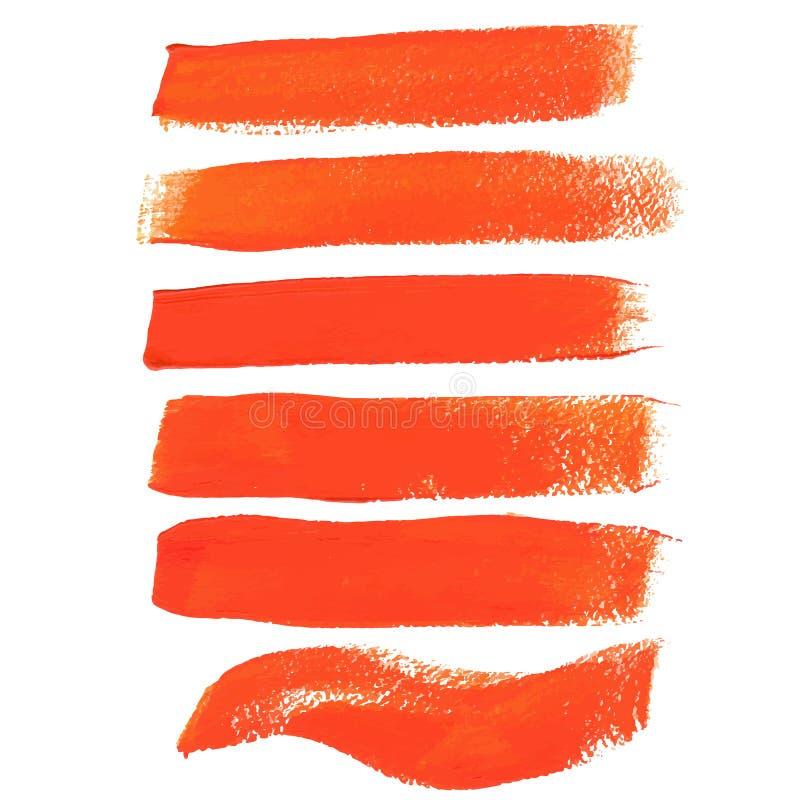 Cursos alaranjados da escova da tinta ilustração stock