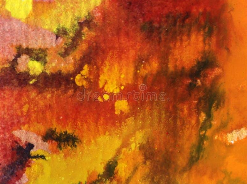 Cursos alaranjados vermelhos textured coloridos do outono do sumário do fundo da arte da aquarela ilustração royalty free