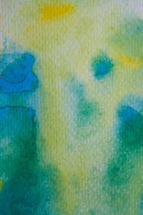 Cursos amarelos, verdes e azuis da escova da aguarela Textura e fundo da pintura da aquarela Textura abstrata a da aquarela imagem de stock royalty free