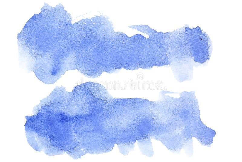 Cursos azuis da escova da aguarela ilustração do vetor