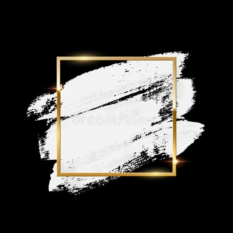 Cursos brancos da escova com o quadro quadrado dourado isolado no fundo preto Elemento do projeto do vetor ilustração do vetor