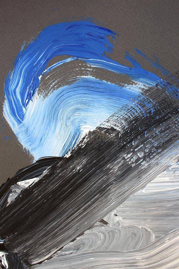 Cursos brancos pretos da escova na lona Fundo da arte abstrata Textura da cor Fragmento da arte finala Pintura abstrata na lona ilustração do vetor