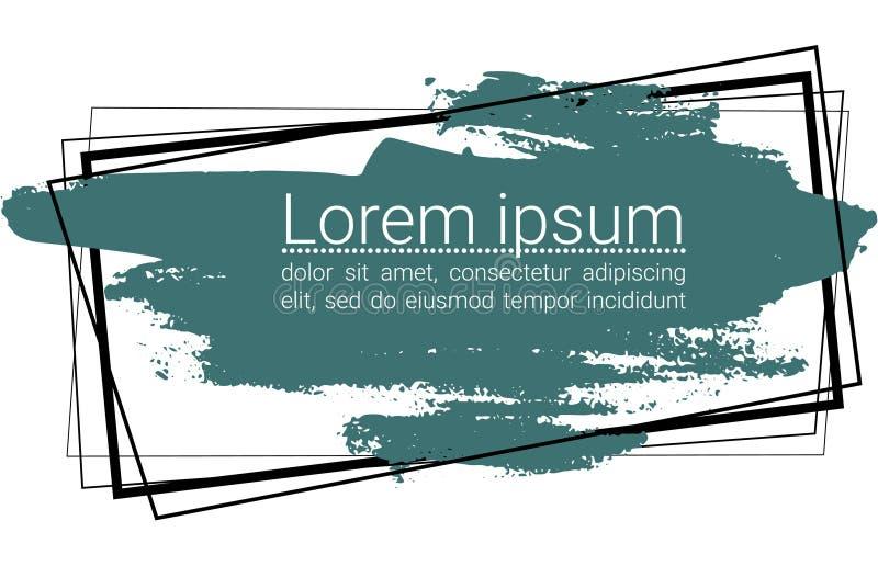 Cursos cianos escuros da escova de cerda do vetor em retângulos pretos para o fundo branco do texto ilustração stock