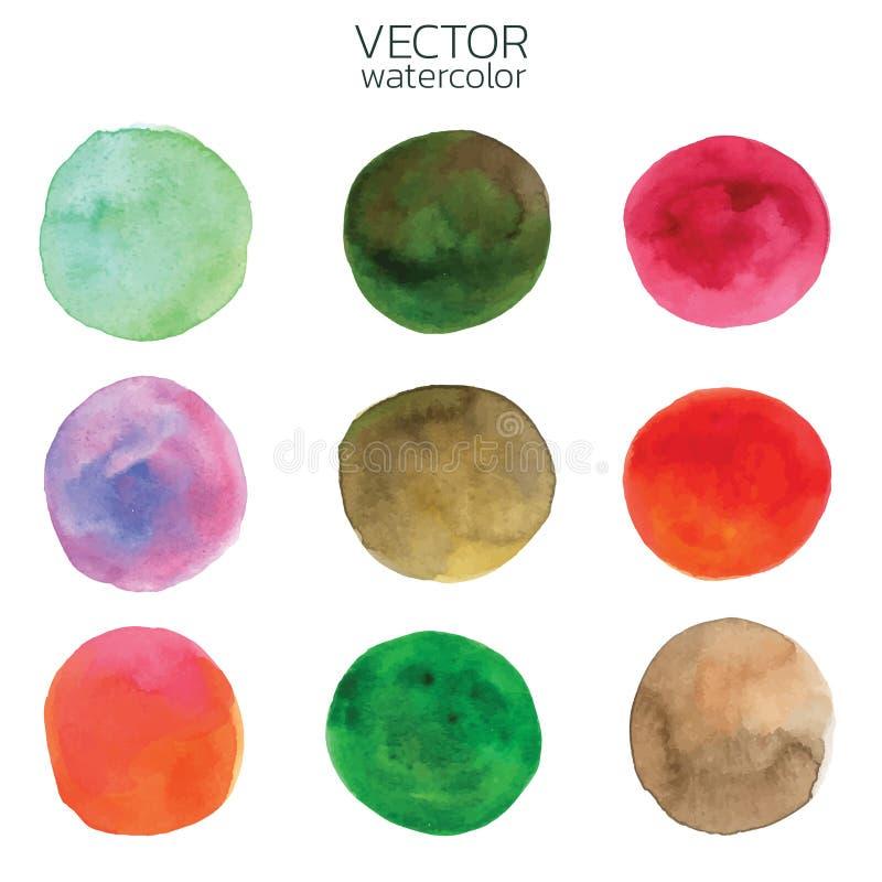 Cursos coloridos da escova da aguarela Curso da escova do vetor para o projeto ilustração do vetor